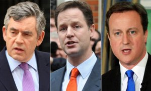 Gordon Brown, Nick Clegg, and David Cameron