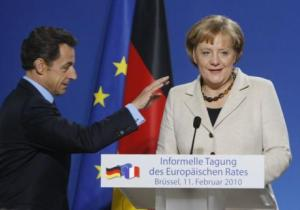 German Chancellor Angela Merkel and French President Nicolas Sarkozy at the Summit of EU Heads of State.