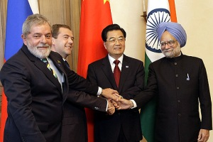 Leaders of Brazil, Russia, China, and India at the First BRIC Summit in Ekaterinburg, Russia.