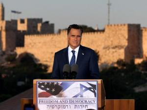 Republican presidential nominee Mitt Romney addresses reporters in Israel.