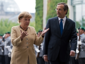 German Chancellor Angela Merkel meets with Greek Prime Minister Antonis Samaras in August.