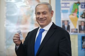 Israeli Prime Minister Benjamin Netanyahu casts his vote on Tuesday.