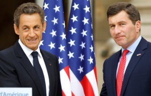 Former French President Nicolas Sarkozy (L) and U.S. Ambassador to France Charles Rivkin (R).