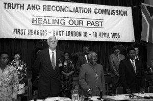 Archbishop Desmond Tutu presides over South Africa's Truth and Reconciliation Commission.