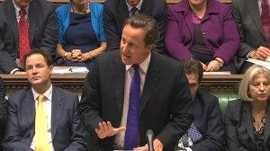 British PM David Cameron makes his case before Parliament.